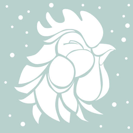 illustration with decorative white silhouette of a satisfied smiling rooster on pale blue background with falling snowflakes. Graphic symbol of 2017 year in black color. Illustration