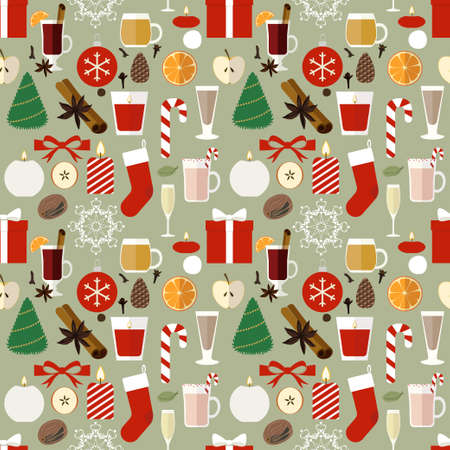 Seamless pattern with flat Christmas icons scattered on pale green background.