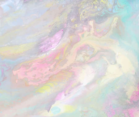 Iridescebt marbled paper texture. Holographic surface. Pale green, yellow and pink streaks Illustration