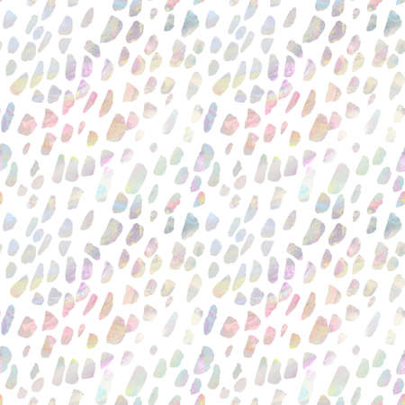 Seamless spotted pattern with iridescent drops on white background Standard-Bild