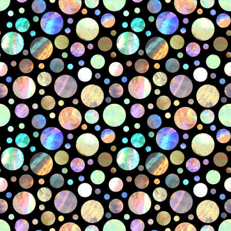 Seamless pattern withbright holographic metal circles on black background