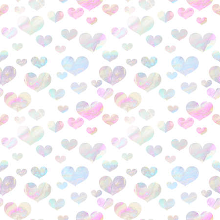 Seamless pattern with pale pink and turquoise hearts with iridescent marbling texture on white background. Valentine's day backdrop