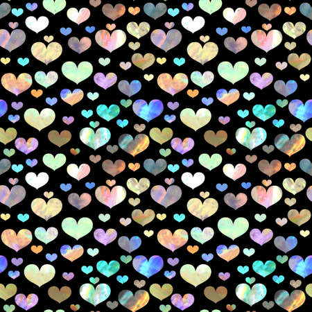 Seamless pattern with holographic hearts on black background. Valentines day iridescent backdrop Imagens