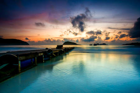 Beautiful view of Redang Island Jetty,Terengganu,Malaysia during sunrise. Soft focus,blur due to long exposure shoot. 스톡 콘텐츠