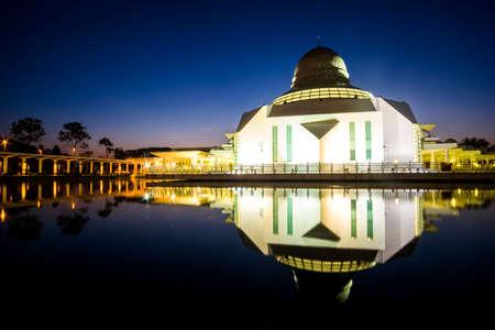 Beautiful view of An-Nur Mosque at Petronas Technology University Seri Iskandar,Perak,Malaysia during sunrise. Soft focus,blur due to long exposure