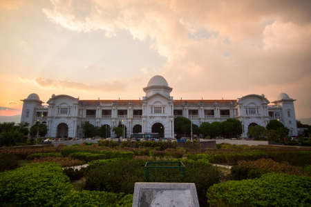 Beautiful view of Ipoh Railway Station,Perak,Malaysia during sunset. Soft focus,motion blur due to long exposure
