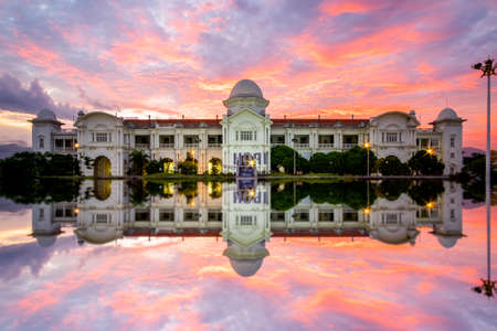 Majestic  Railway Station during sunrise. Ipoh Railway station is one of heritage side of unesco. soft focus,blur due to long exposure.