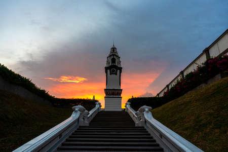 Big Clock Tower at Ipoh,Malaysia during beautiful sunset. Stockfoto