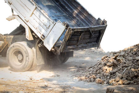dumping: Truck land dumping a soil Stock Photo