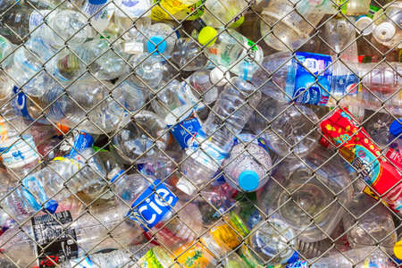 recycling center: CHIANG MAI THAILAND  MAY 2 : Recycling center collects plastic bottles on May 2 2015 in Chiang mai Thailand. In 2013 more than 800000 tons of recyclables were processed in Thailand 48.8.