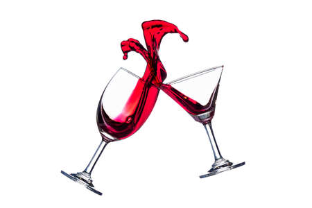 clink: Clink red wine glasses on isolate white background