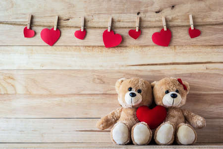 The couple Teddy bear holding a heart-shaped pillow, Valentine concept