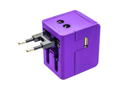 usb various: Purple Travel adepter for EUROPE zone on isolate white background Stock Photo