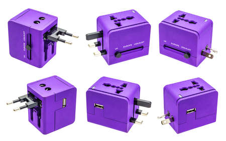 usb various: Collection set of Purple Travel adepter all side on isolate white background