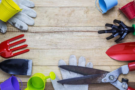 agricultural tools: A photo of Agricultural tools on wood table Stock Photo