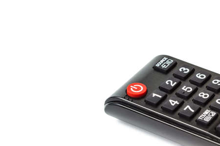 A close up shot photo of red power button on tv remote control, Selective focus, Soft focus