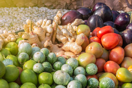 A photo of Many vegetables in basket Stock Photo