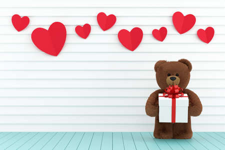A photo of Teddy bear holding a gift box, 3D rendering with blender freeware