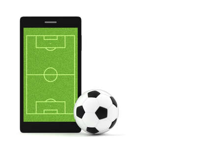 A photo of Soccer ball and smartphone on isolate white background with copy space for text Stock Photo