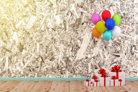A photo of white gift box and colorful balloon with grung texture background, 3D rendering with blender freeware Zdjęcie Seryjne