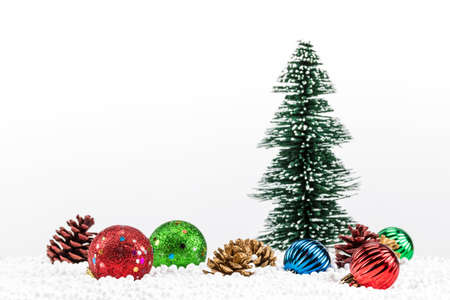 A photo of christmas decorations on white background