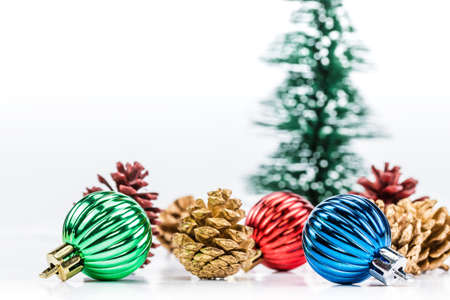 A photo of christmas decoration on white background