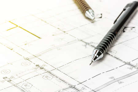 Una foto di matita su progetto