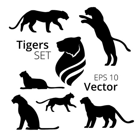 Tiger set of silhouettes vector Vettoriali