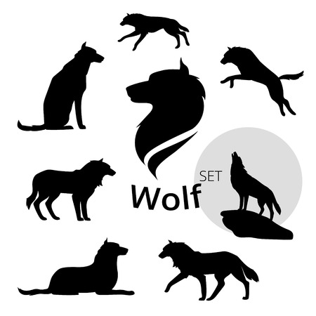 wolves: Wolf set of silhouettes, vector