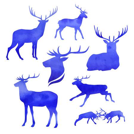 Set of vector watercolor deer