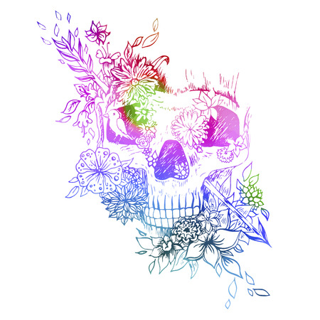 engraving print: Watercolor skull isolated. Engraving sketch. Abstract vector skull in the flowers. Print for t-shirt. Illustration