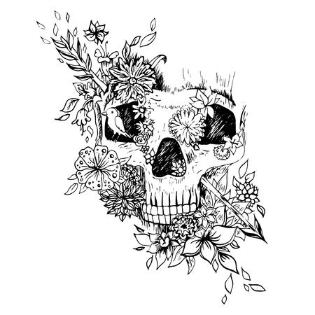 calaveras: Aislado cráneo blanco y negro. Esbozo de grabado. Cráneo de vectores de fondo en las flores. Imprimir para la camiseta. Cosas salvajes.