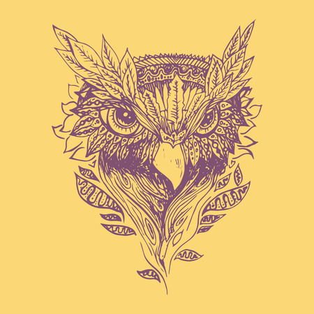 engraving print: Purple owl on yellow background. Engraving sketch. Abstract vector bird with leaves. Print for t-shirt. Wild things. Illustration