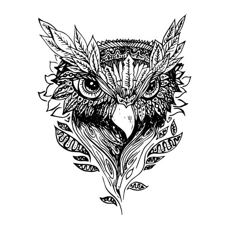 draw: Black and white owl isolated. Engraving sketch. Abstract vector bird with leaves. Print for t-shirt. Wild things. Illustration