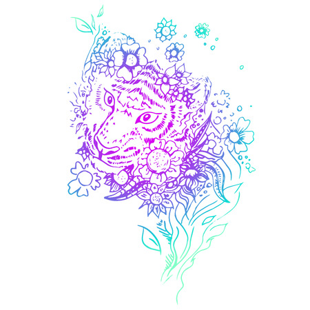 engraving print: Abstract graphic colored tiger. Engraving sketch. Abstract vector tiger in the flowers. Print for t-shirt. Wild things. Illustration