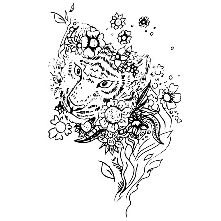 Black and white tiger isolated. Engraving sketch. Abstract vector tiger in the flowers. Print for t-shirt. Wild things.