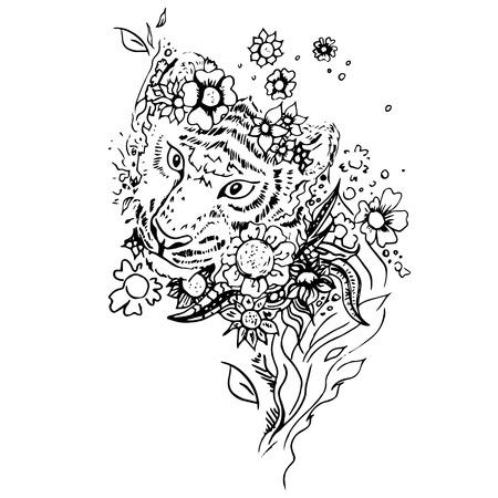Zwart en witte tijger geïsoleerd. Graveren schets. Abstract vector tijger in de bloemen. Print voor t-shirt. Wilde dingen.
