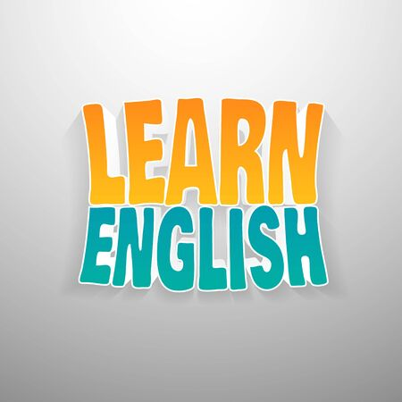 in english: Painted multicolor text learn english on white wall background, 3d vector. Illustration for advertising banners and ads.