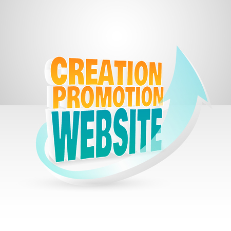 illustration for advertising: 3d vector words website creation promotion. Illustration for advertising banners.