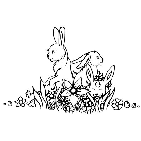 wild grass: Black and white rabbit isolated. Engraving sketch. Abstract vector hares in the grass. Print for t-shirt. Wild things. Illustration