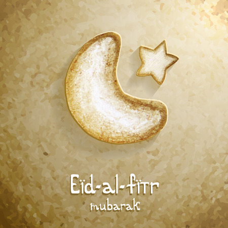 islamic calligraphy: Arabic Islamic calligraphy text Eid Al Fitr with cookies crescent and star on occasion of Muslim community festival. Illustration