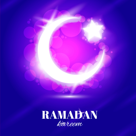 occasion: Arabic Islamic text Ramadan kareem with crescent silhouette on occasion of Muslim community festival.
