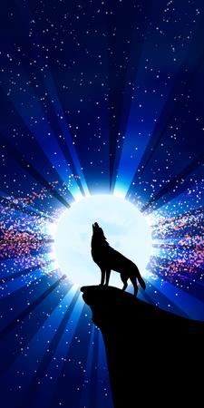 lobo feroz: La ilustración vectorial: Lobo que grita en la luna. Opción vertical de una imagen.