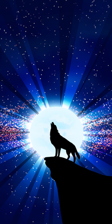 wolf: The vector illustration: Wolf howling at the moon. Vertical option of a picture.