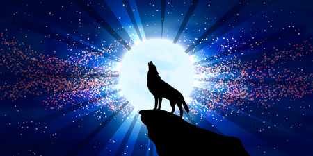 The vector illustration: Wolf howling at the moon. Horizontal option of a picture. Stock Illustratie
