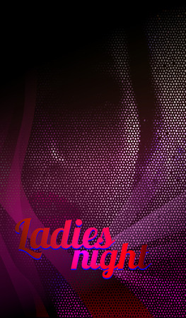 party night: Ladies night, dance party flyer vector, eps 10. Disco banner vertical orientation.