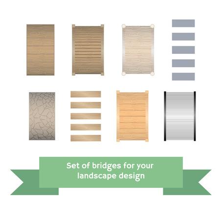 Conjunto de puentes de vectores. Colección para jardinería, vista desde arriba, plano. Formas arquitectónicas de tipo pequeño.