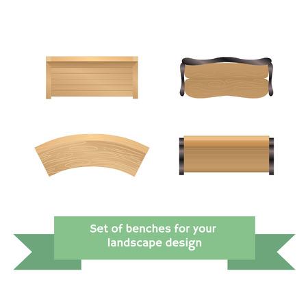 tuinontwerp: Set van vector houten banken. Collection voor landscaping, bovenaanzicht, plan.