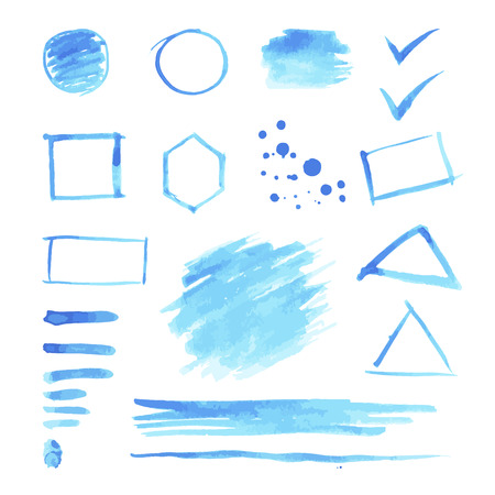 octagon: Set of blue watercolor spots and geometric shapes: circle, rastangle, square, octagon, triangle. Illustration