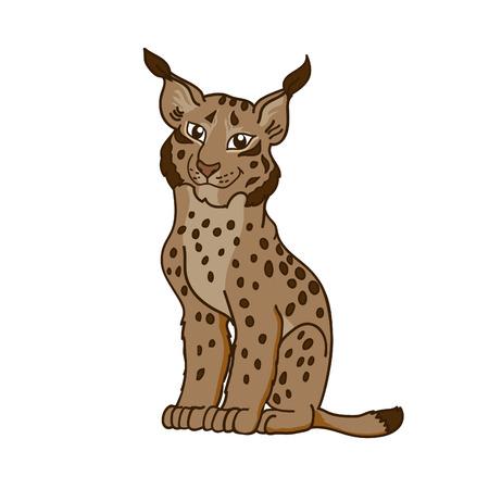broun: Cartoon caricature lynx. Illustration little wild cat. Illustration
